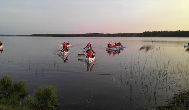 Kanoter på sjön Hulingen i Hultsfred