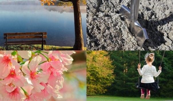 Dekorativt Bilder på en bänk vid en sjö, en spade i jorden, blommor och en gunga.