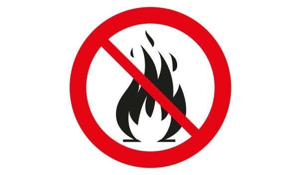 Symbol för eldningsförbud med eld och förbudsskylt