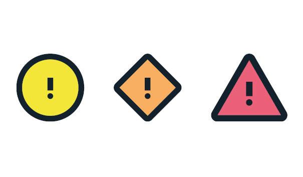 Symboler för gul, orange och röd vädervarning